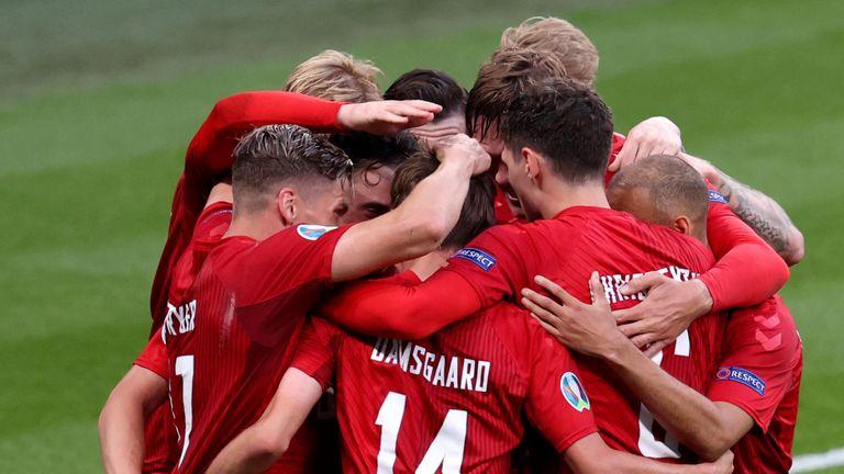 Denmark celebrate scoring at Wembley