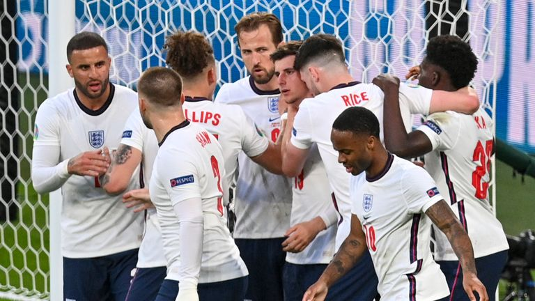 England players celebrate their first goal against Denmark