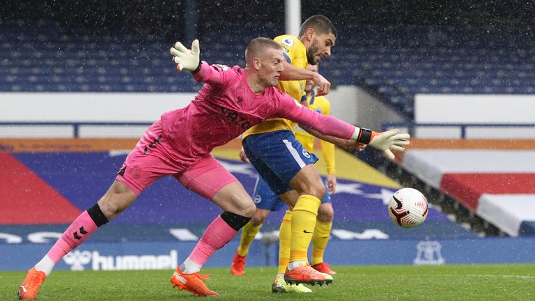Pickford was at fault for a Brighton goal last September