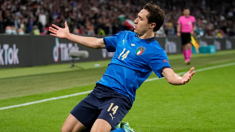 Italy's Federico Chiesa celebrates after scoring against Spain