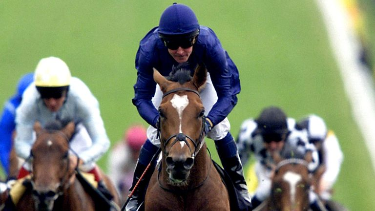 Jockey Mick Kinane rides Galileo to victory in the 2001 Derby at Epsom