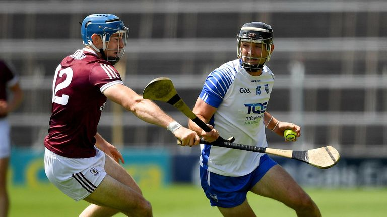 24 July 2021; Patrick Curran of Waterford is tackled by Conor Cooney of Galway during the GAA Hurling All-Ireland Senior Championship Round 2 match between Waterford and Galway at Semple Stadium in Thurles, Tipperary. Photo by Ray McManus/Sportsfile