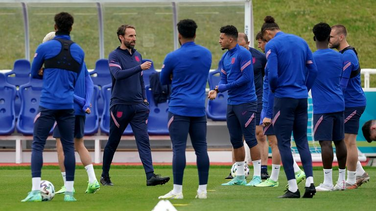 Gareth Southgate trains for England in St George's Park of England quarter-final at Euro 2020