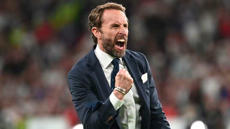 Gareth Southgate celebrates after England's win against Denmark