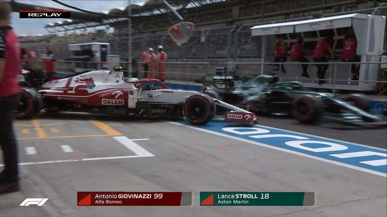 Antonio Giovinazzi luckily avoided serious damage to his car after being released by his garage early.