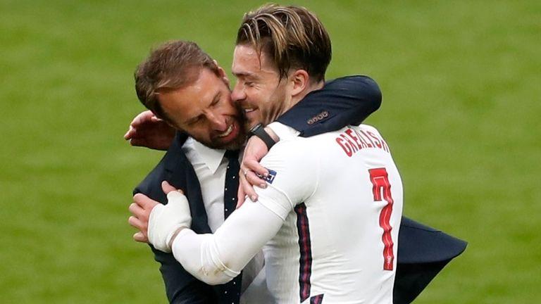 Gareth Southgate embraces Jack Grealish after England beat Germany