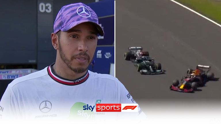 Mercedes' Lewis Hamilton argues Max Verstappen was too aggressive during the wheel-to-wheel battle in the opening stages of the British Grand Prix.