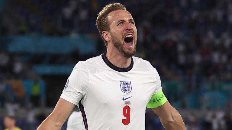 Harry Kane celebrates scoring for England vs Ukraine