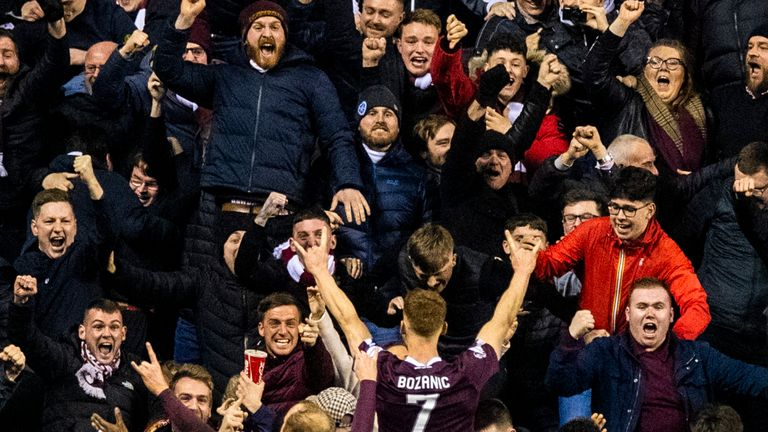 EDINBURGH, SCOTLAND - MARCH 03: Oliver Bozanic celebrates after scoring to make it 2-0 Hearts during the Ladbrokes Premiership match between Hibs and Hearts at Easter Road on March 03, 2020 in Edinburgh, Scotland. (Photo by Paul Devlin/ SNS Group)