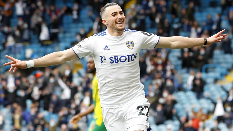 Leeds United's Jack Harrison celebrates scoring a goal that is caught offside during the Premier League match at Elland Road, Leeds. Picture date: Sunday May 23, 2021.