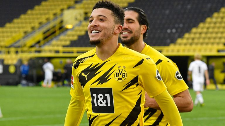 Jadon Sancho is undergoing a medical at Manchester United ahead of a £73m move from Borussia Dortmund