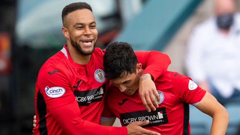 Jamie McGrath celebrates with Charles Dunne restoring St Mirren's lead