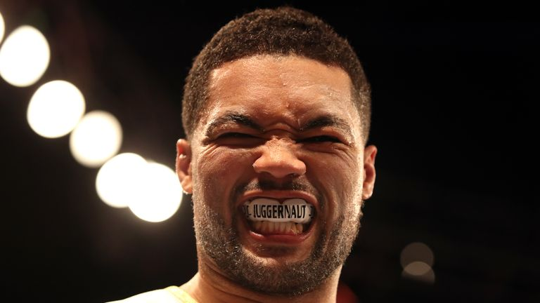 Joe Joyce walks shows off his mouthguard prior to the Commonwealth Heavyweight Championship bout at the O2 Arena, London. PRESS ASSOCIATION Photo. Picture date: Saturday May 5, 2018. See PA story BOXING London. Photo credit should read: Nick Potts/PA Wire