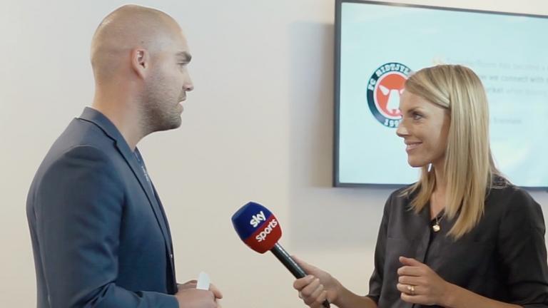 TransferRoom founder Jonas Ankersen being interviewed by Sky Sports' Rebecca Williams [Source: TransferRoom]