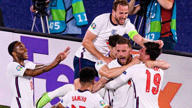 England celebrate Jordan Henderson's goal against Ukraine