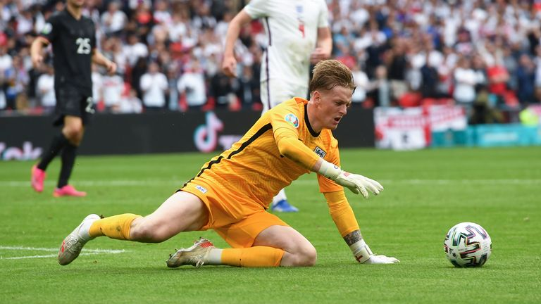 AP - England's goalkeeper Jordan Pickford saves on Germany's Timo Werner during the Euro 2020 soccer championship round of 16 match between England and Germany, at Wembley stadium in London, Tuesday, June 29, 2021. (Andy Rain, Pool via AP)
