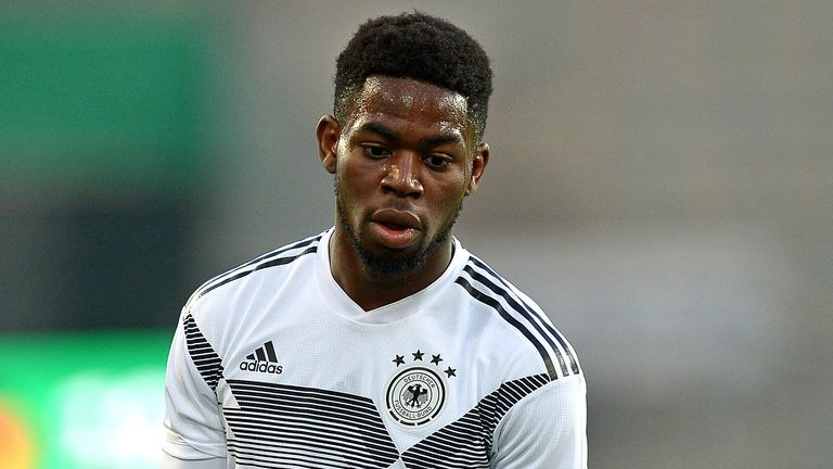 Jordan Torunarigha in action for Germany in a 2019 friendly against France