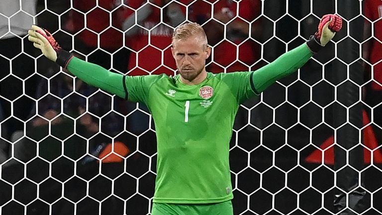 A laser pointer was shone on Kasper Schmeichel as he prepared to face Harry Kane's penalty