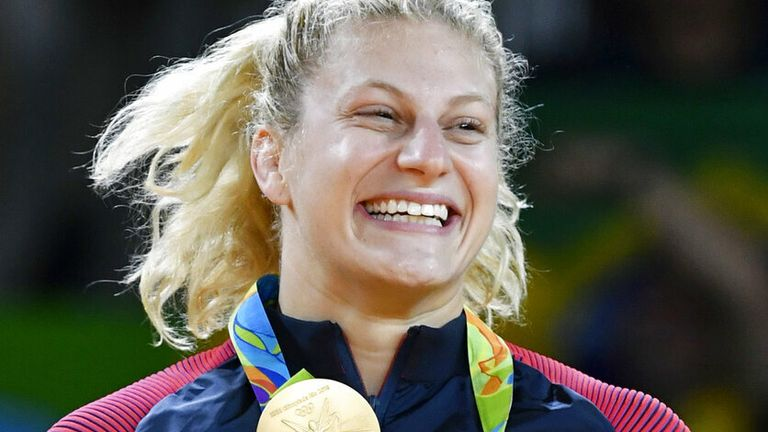 American judoka Kayla Harrison poses with her gold medal after winning the women's 78-kilogram category at the Rio de Janeiro Olympics on Aug. 11, 2016. (Kyodo via AP Images)