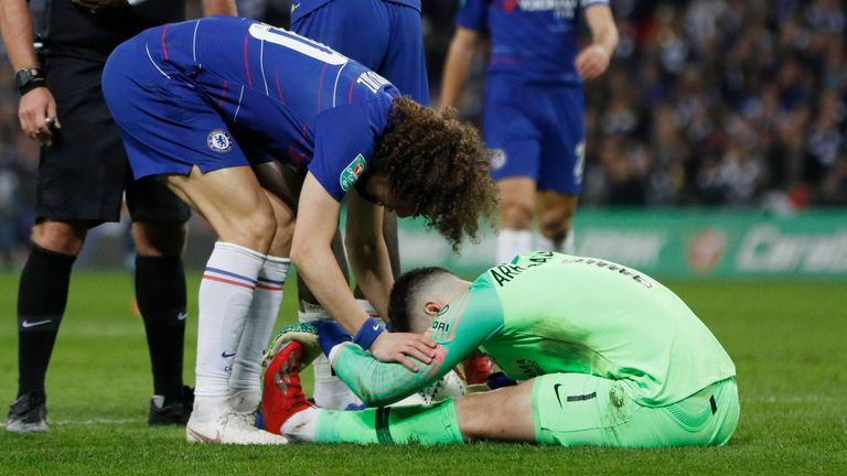 Chelsea goalkeeper Kepa went down with what appeared to be cramp during extra-time in the 2019 Carabao Cup final against Manchester City