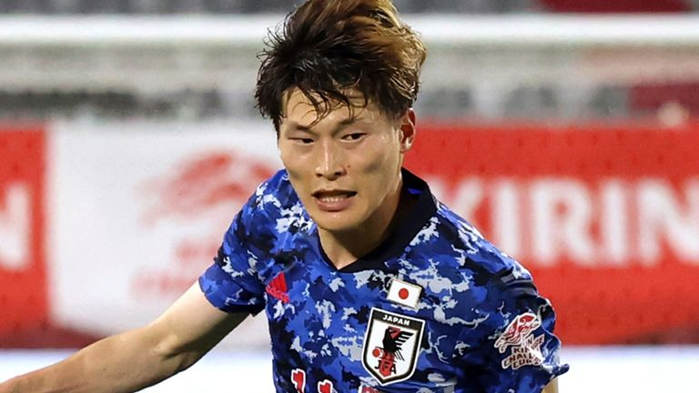 Japan's Kyogo Furuhashi is set to join Celtic (AP)