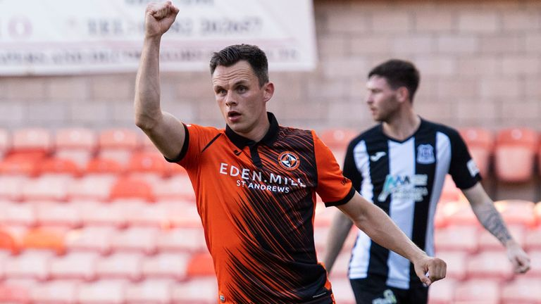 DUNDEE, SCOTLAND - JULY 14: Dundee United's Lawrence Shankland celebrates his equaliser during a Premier Sports Cup tie between Dundee United and Elgin City at Tannadice Park, on July 14, 2021, in Dundee, Scotland. (Photo by Paul Devlin / SNS Group)
