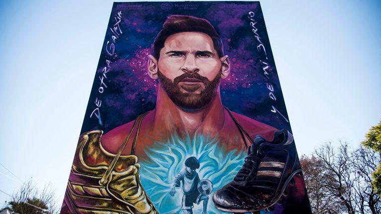 Lionel Messi mural in Rosario, Argentina