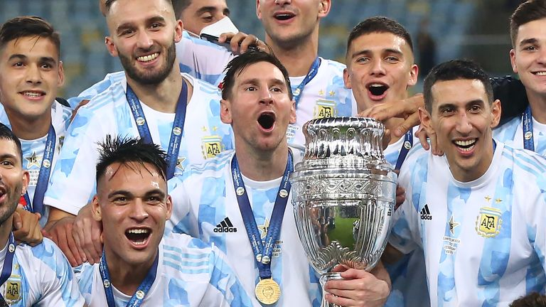 Lionel Messi celebrates his first major title with Argentina