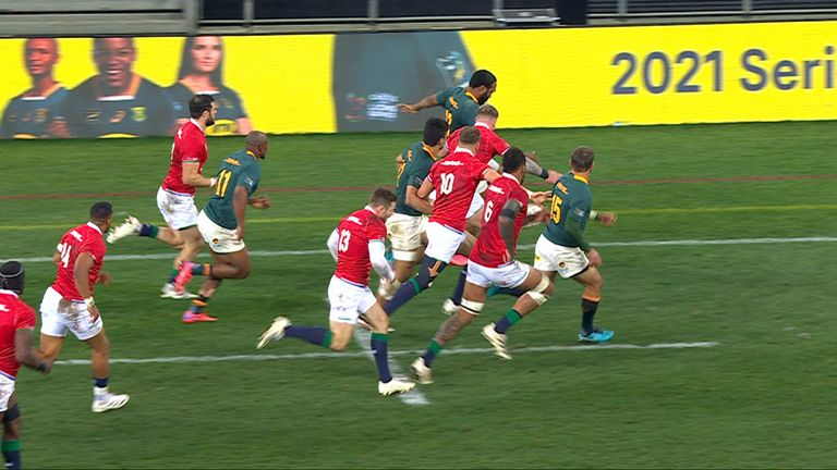 Le Roux sees try disallowed for offside in the first Test
