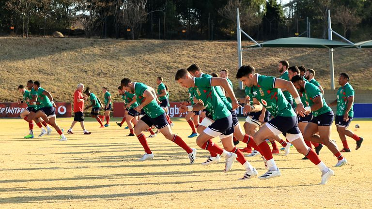 The British and Irish Lions are put through a training session in South Africa
