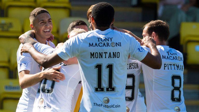 Livingston players congratulate goalscorer Craig Sibbald after his goal against Cowdenbeath