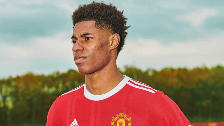 Marcus Rashford dons the new Manchester United home jersey
