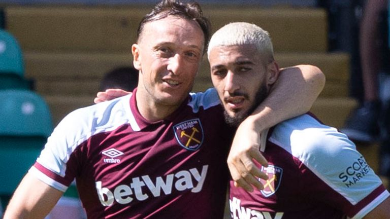 Mark Noble celebrates with Said Benrahma after his goal against Celtic