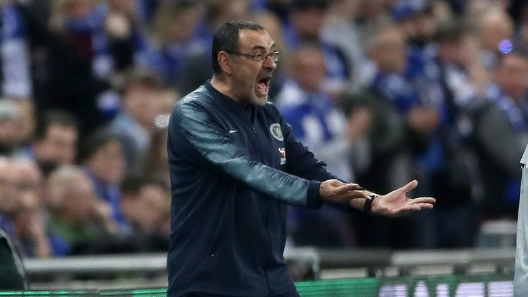 Maurizio Sarri, then Chelsea boss, screamed on the touchline to get his message across to his goalkeeper Kepa during the 2019 Carabao Cup final against Manchester City