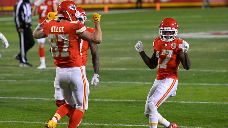 Hardman celebrates with Travis Kelce after the tight end's touchdown against the Bills (AP)