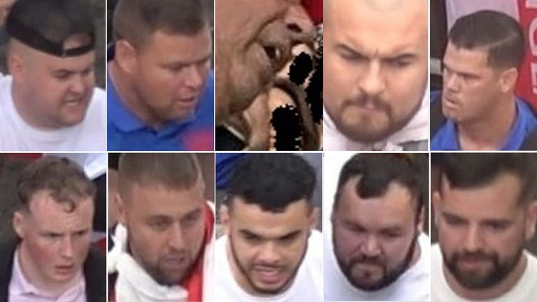 Met police detectives have released ten images of people sought in connection with violence and disorder at the Euro 2020 final.