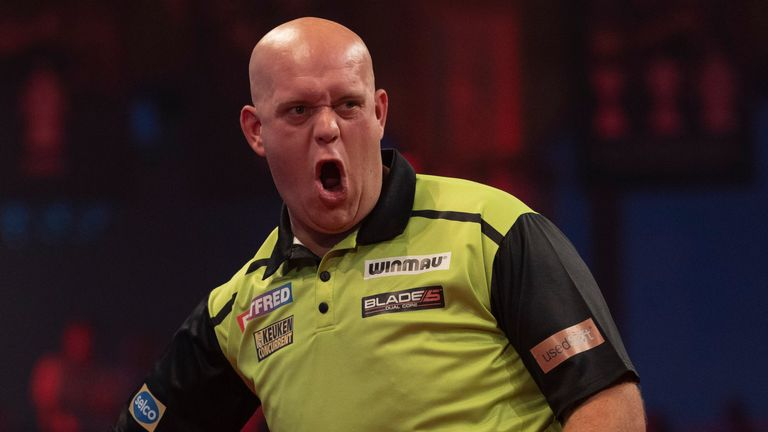 Michael van Gerwen limped on to the semi-finals after a gruelling clash with Nathan Aspinall. (Image: Lawrence Lustig/PDC)