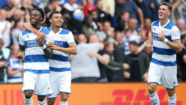 Moses Odubajo celebrates after putting QPR 3-1 up against Manchester United in a pre-season friendly