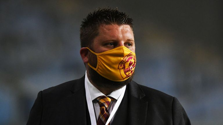 Chief Executive of Motherwell  Alan Burrows during the UEFA Europa League 3rd Round qualifier between Happoel Beer Sheeva and Motherwell at HaMoshava Stadium on September 24, 2020, in Petah Tivka , Israel.