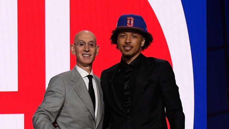 NBA commissioner Adam Silver and the number one overall pick Cade Cunningham
