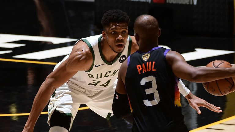 Giannis Antetokounmpo guards Chris Paul during Game 5 of the NBA Finals