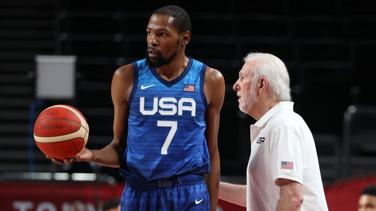 Kevin Durant and Gregg Popovich during the USA's opening defeat to France on Sunday