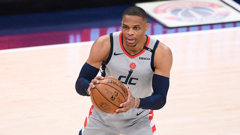 Washington Wizards guard Russell Westbrook (4) in action during the first half of Game 4 in a first-round NBA basketball playoff series against the Philadelphia 76ers, Monday, May 31, 2021, in Washington. (AP Photo/Nick Wass).