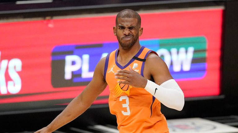 Phoenix Suns guard Chris Paul reacts after being hit in the eye during the first half in Game 6 of the NBA basketball Western Conference Finals against the Los Angeles Clippers Wednesday, June 30, 2021, in Los Angeles. (AP Photo/Mark J. Terrill)