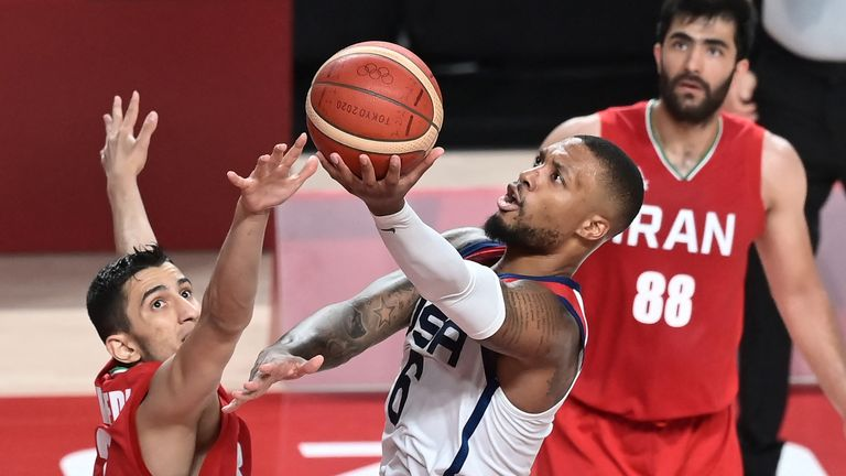 Damian Lillard scored 21 points in 23 minutes of action against Iran in the USA's second game of the Olympics