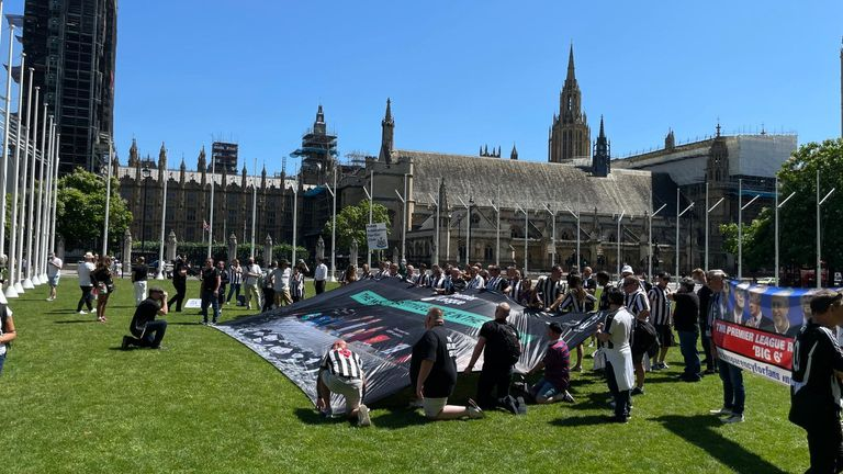 Newcastle fans continued their protest on Parliament Square