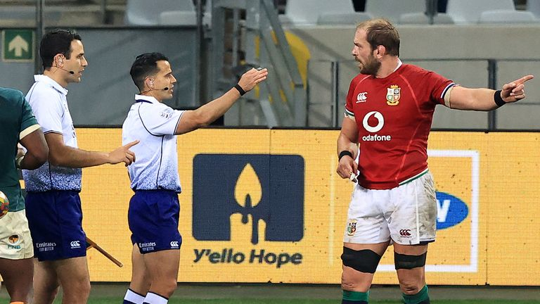 CAPE TOWN, SOUTH AFRICA - JULY 24: Alun Wyn Jones, (R) the British & Irish Lions captain talks to referee Nic Berry during the 1st Test match between the South Africa Springboks and the British & Irish Lions at Cape Town Stadium on July 24, 2021 in Cape Town, South Africa. (Photo by David Rogers/Getty Images)
