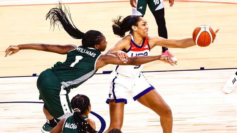 Nigeria forward/center Elizabeth Williams (1) battles for the ball against United States forward A'Ja Wilson during the first half of a pre-Olympic exhibition basketball game