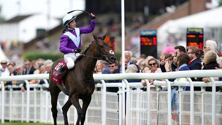 Murphy parades Alcohol Free in front of the Goodwood crowd after winning the Sussex Stakes