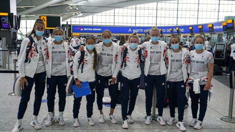 Members of the British women's football team leave London for the Tokyo Olympics